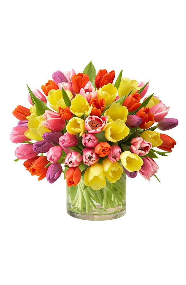 """<p><em>from $80 </em><br></p><p><a rel=""""nofollow"""" href=""""https://www.1800flowers.com/assortedtulips-100303"""">SHOP NOW</a><br></p><p>If her favorite flowers are tulips, she'll love this colorful bouquet from  <a rel=""""nofollow"""" href=""""https://www.1800flowers.com/"""">1-800Flowers</a>. </p><p><strong>RELATED: <a rel=""""nofollow"""" href=""""https://www.womansday.com/style/fashion/g2304/mothers-day-jewelry/"""">Gorgeous Pieces of Mother's Day Jewelry Mom Will Adore</a></strong><br></p>"""