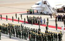The body of former Zimbabwean President Robert Mugabe arrives back in Harare