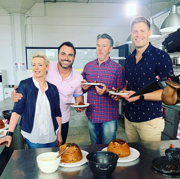 Miguel Meastre with his The Living Room co-stars: Amanda Keller, Barry Du Bois and Dr Chris Brown.