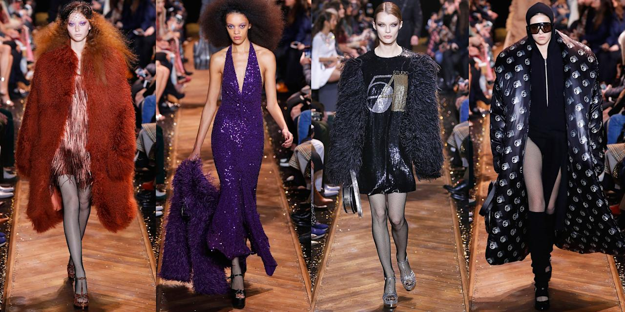"<p>For <a rel=""nofollow"" href=""https://www.vogue.com/fashion-shows/fall-2019-ready-to-wear/michael-kors-collection"">Michael Kors' fall 2019 show</a>, he brought the audience back to the nostalgic days of Studio 54. The designer sent over 70 looks down the runway, ranging from sequined one-shoulder dresses to colorful boas paired with with floral gowns. And if you had any doubt Studio 54 was the theme, Kors plastered the former nightclub name on black tees and tanks in glittery letters and numbers. For the finale of all finales, the curtains pulled back to display a wall of gold tinsel and guests were treated to a show by Barry Manilow, who was singing ""Copacabana."" Kors then took his bow with legendary model Patti Hansen. Missed the whole party? Catch up with the runway looks, ahead. </p><p>•••<br><em><br><em>For more stories like this, including </em>celebrity news, beauty and fashion advice, savvy political commentary, and fascinating features, sign up for the </em>Marie Claire<em> newsletter (<a rel=""nofollow"" href=""https://preferences.hearstmags.com/brands/MAR/subscribe.aspx?authId=F0CC0C27-80DA-4734-ABDF-E4115B84A56B&maj=WNL&min=ARTICLES"">subscribe here</a>). </em><br></p>"