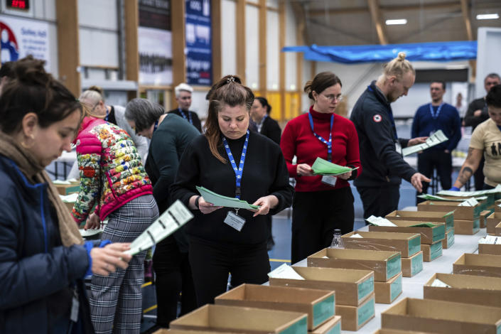 Electoral workers counts ballots in the national general election in Nuuk, Greenland, Tuesday, April 6, 2021. (Emil Helms/Ritzau via AP)