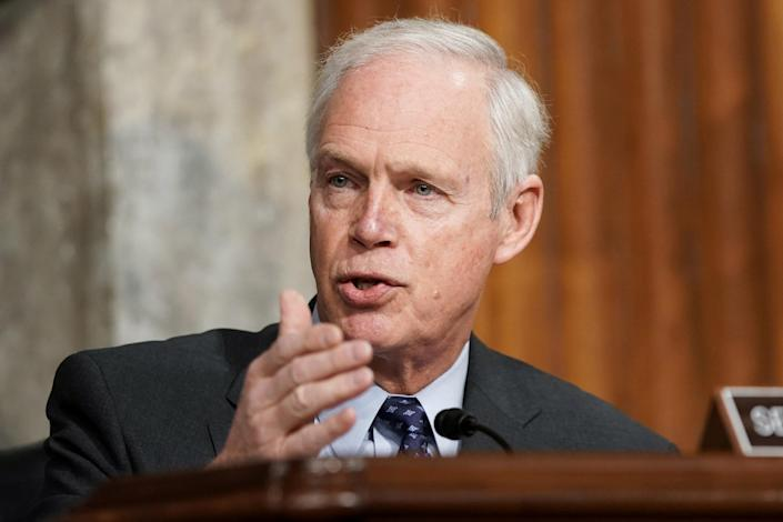 Image: Sen. Ron Johnson, R-Wis., asks questions during the Senate Homeland Security and Governmental Affairs/Rules and Administration hearing to examine the Jan. 6, 2021 attack on the U.S. Capitol (Greg Nash / Reuters)