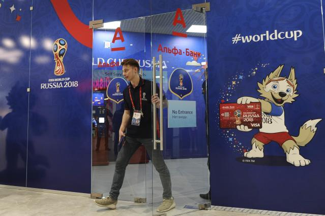 A man walks out of a 2018 FIFA World Cup Venue Ticketing Centre shortly after its opening in Rostov-on-Don, Russia April 18, 2018. REUTERS/Sergey Pivovarov