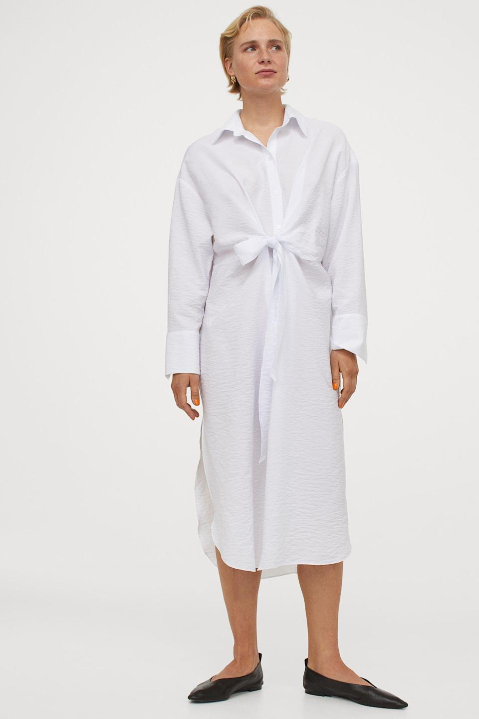 <p>Elevate your road-trip attire with this <span>Tie-Front Shirt Dress</span> ($24, originally $30).</p>