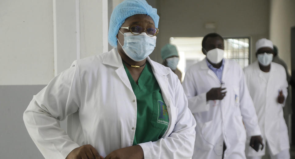 Medical workers wear PPE in a hospital in Chad.