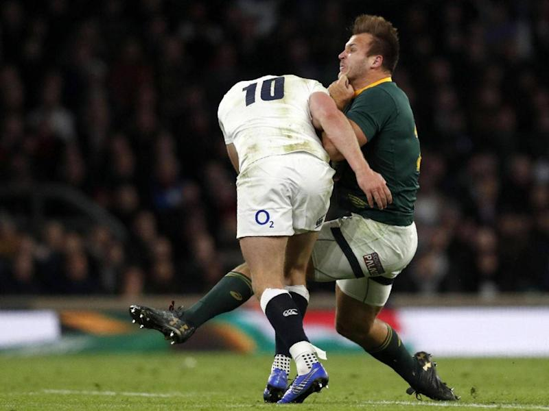 Owen Farrell's tackle on Andre Esterhuizen led to a late, controversial TMO review (Getty )