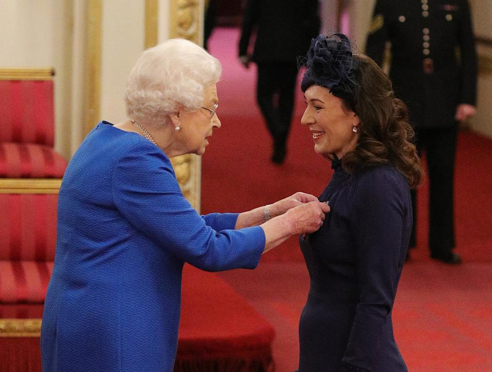 Marnie Gaffney from Kingston-Upon-Thames is made a Member of the Royal Victorian Order by Queen Elizabeth II at Buckingham Palace. PA Photo. Picture date: Thursday November 21, 2019. S Photo credit should read: Yui Mok/PA Wire