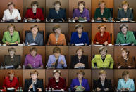 FILE - In this combo from file photos taken between 2009 and 2016 German Chancellor Angela Merkel is shown wearing her iconic blazers in different colors, as she leads the weekly cabinet meeting at the chancellery in Berlin. Angela Merkel, Germany's first female chancellor, has been praised by many for her pragmatic leadership in a turbulent world and celebrated by some as a feminist icon. But a look at her track record in fighting gender inequality in 16 years running Germany reveals missed opportunities in promoting women's issues. (AP Photos/Markus Schreiber, file)