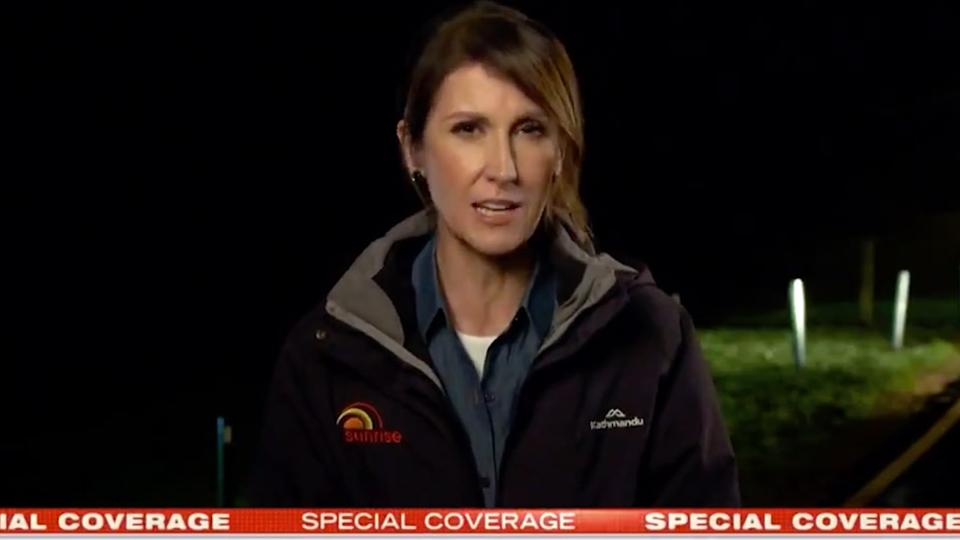 Sunrise co-host Natalie Barr covering the NSW flood crisis from Penrith
