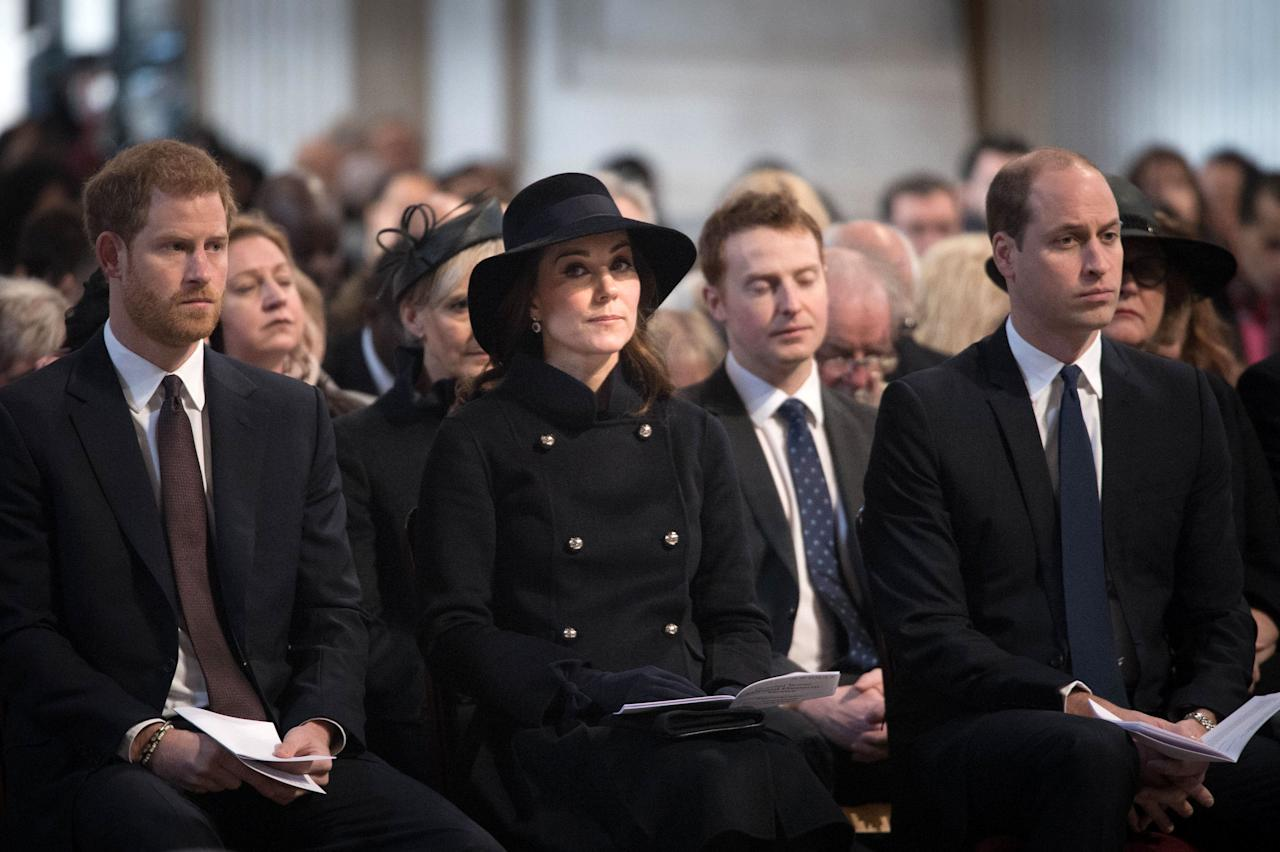 Britain's Prince William, the Duke of Cambridge, Princess Catherine, the Dutchess of Cambridge and Prince Harry attend a memorial service in honour of the victims of the Grenfell Tower fire at St Paul's Cathedral in London, Britain December 14, 2017. REUTERS/Stefan Rousseau/Pool