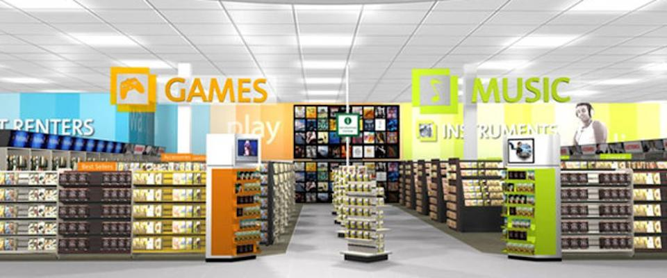 interior of a video game and music store