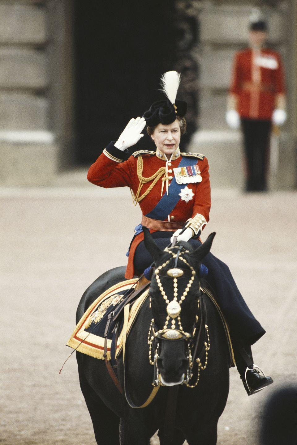 "<p>The queen proves she's a <a href=""https://www.harpersbazaar.com/celebrity/latest/g10021446/queen-elizabeth-rare-photos/?slide=2"" rel=""nofollow noopener"" target=""_blank"" data-ylk=""slk:total badass"" class=""link rapid-noclick-resp"">total badass</a> as she took the salute at the Trooping the Color ceremony outside Buckingham Palace.</p>"