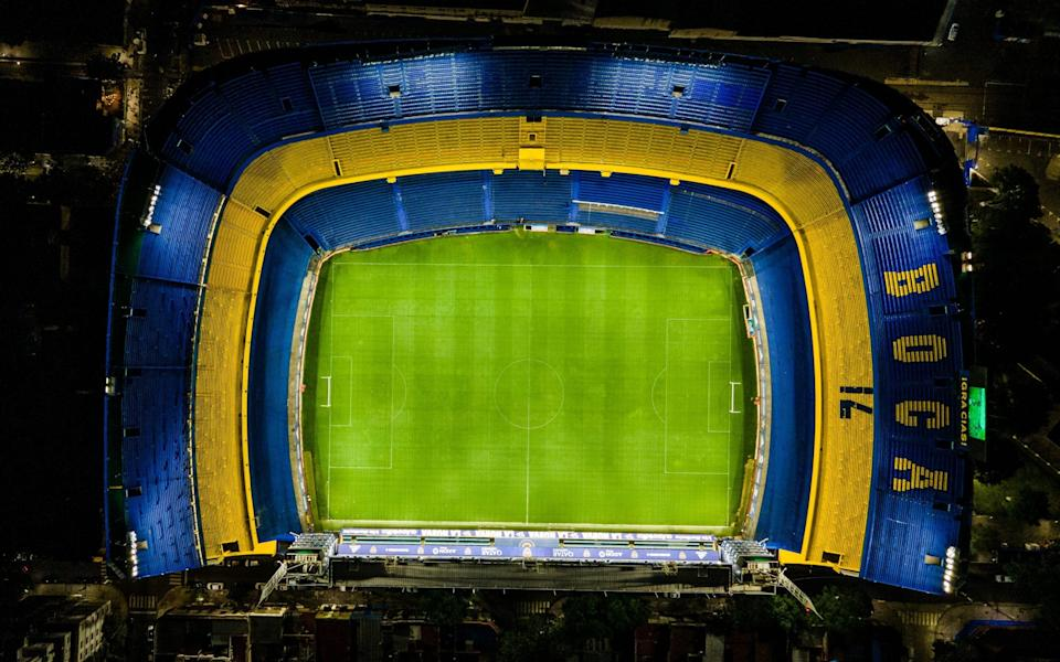 Aerial view of La Bombonera Stadium as it remains with the lights on as a tribute to Diego Maradona
