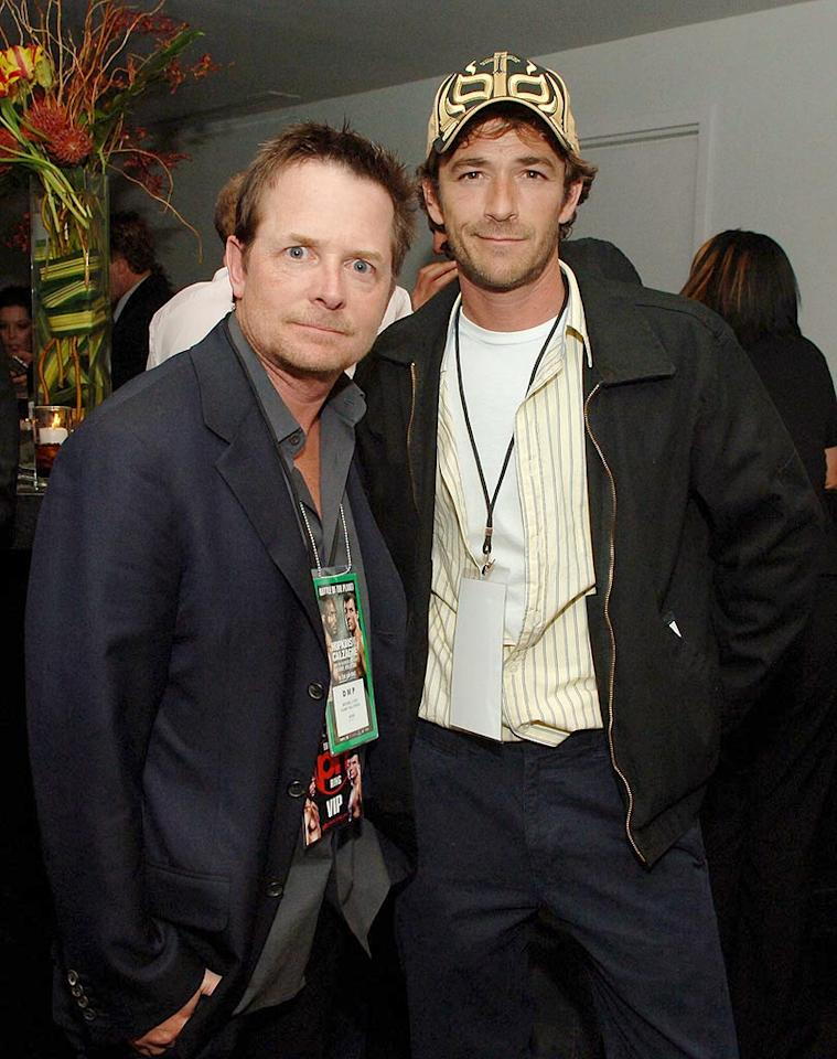 "McTastic! Marty McFly (Michael J. Fox) and Dylan McKay (Luke Perry) hang out at the star-studded event. Denise Truscello/<a href=""http://www.wireimage.com"" target=""new"">WireImage.com</a> - April 19, 2008"