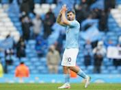 Thanks for the memories: Manchester City striker Sergio Aguero applauds the crowd