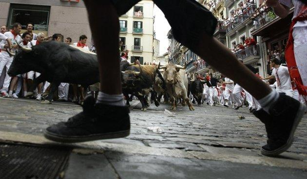 A runner leads Torrestrella bulls and steers during the first bull run of the famous running of the bulls San Fermin festival in Pamplona July 7, 2011. (REUTERS/Eloy Alonso)