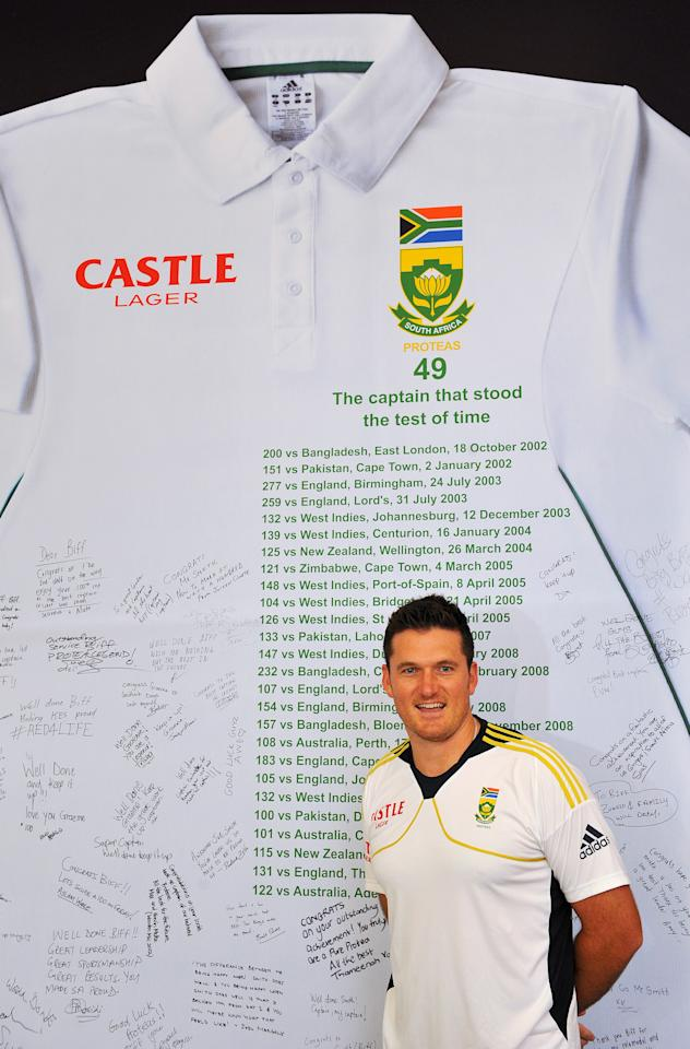 JOHANNESBURG, SOUTH AFRICA - JANUARY 29:  Graeme Smith of South Africa poses next to a sign displaying messages of congratulations from fans ahead of Graeme Smith's 100th Test as captain at Sandton City on January 29, 2013 in Johannesburg, South Africa.  (Photo by Duif du Toit/Gallo Images/Getty Images)