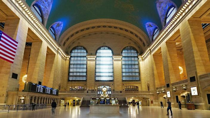 New York City's Grand Central Station is seen abandoned at rush hour as the city is pummelled by the virus outbreak.