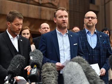 "Abuse victims of former football coach Barry Bennell (L-R) Steve Walters, Micky Fallon and Chris Unsworth speak outside Liverpool Crown Court on February 19, 2018 after the sentencing of former football coach Barry Bennell who was found guilty of sexual abuse. Former British football trainer Barry Bennell was sentenced to 30 years in prison on February 19 for abusing 12 boys he coached between 1979 and 1991, with the judge branding him ""sheer evil"". / AFP PHOTO / Anthony Devlin"