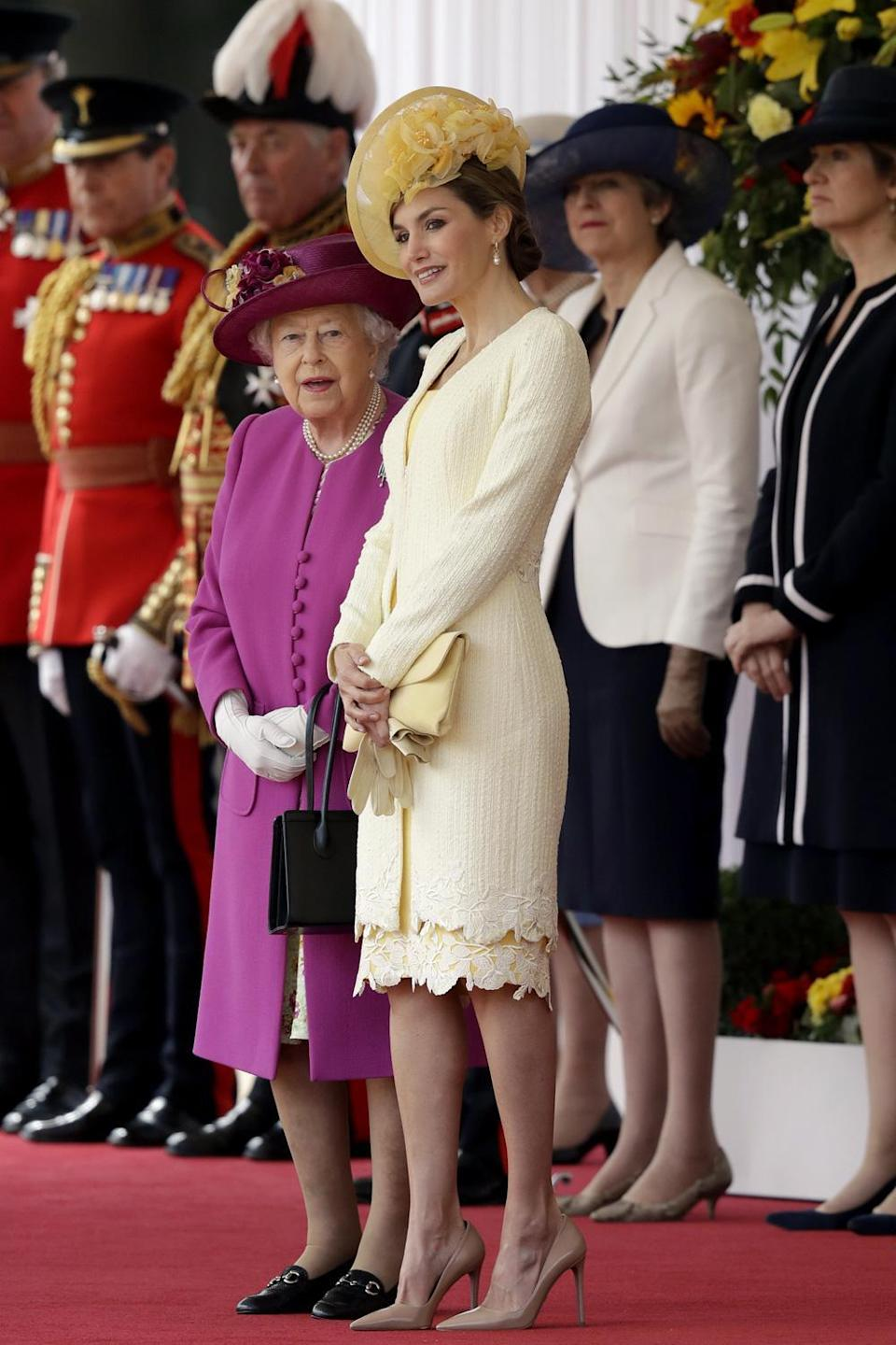 The Queen with Spain's Queen Letizia at the ceremonial welcome on Horse Guards Parade (AP)