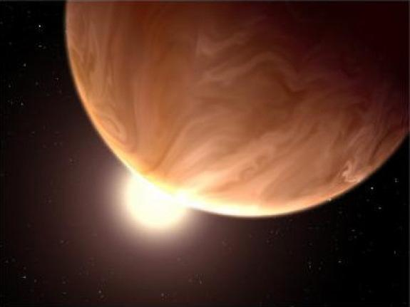 "An artist's rendition of a cloudy super-Earth. Scientists suspect that alien life could potentially thrive on an alien planet by subsisting on ""supercritical"" carbon dioxide instead of water."
