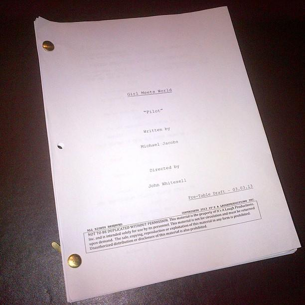 "Ben Savage <a href=""http://instagram.com/p/WiQnyTG1p3/"">Instagrammed a pic</a> of the script for the pilot episode of ""Girl Meets World."""