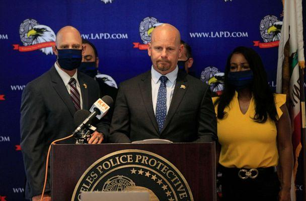 PHOTO: Jamie McBride, leader of Los Angeles Police Protective League, LAPPL, the union that represents Los Angeles Police Department officers, speaks at a news conference, June 5, 2020, at the LAPPL offices in Los Angeles. (Damian Dovarganes/AP)