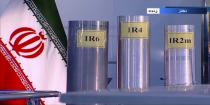 FILE - In this June 6, 2018 frame grab from the Islamic Republic Iran Broadcasting, IRIB, state-run TV, three versions of domestically-built centrifuges are shown in a live TV program from Natanz, an Iranian uranium enrichment plant, in Iran. (IRIB via AP, File)