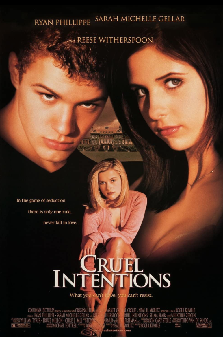"""<p><em>Cruel Intentions</em> exists in that <em>American Pie</em> era of sex films (this one obviously more dramatic), which, let's be real, we're not gonna bend over backwards to justify. Nevertheless, it's an aggressively seductive film, and it does not care what you think. </p><p><a class=""""link rapid-noclick-resp"""" href=""""https://www.amazon.com/Cruel-Intentions-Sarah-Michelle-Gellar/dp/B000ID3E9S/ref=sr_1_1?dchild=1&keywords=Cruel+Intentions+%281999%29&qid=1622132239&s=instant-video&sr=1-1&tag=syn-yahoo-20&ascsubtag=%5Bartid%7C2139.g.36530740%5Bsrc%7Cyahoo-us"""" rel=""""nofollow noopener"""" target=""""_blank"""" data-ylk=""""slk:STREAM IT HERE"""">STREAM IT HERE</a></p>"""