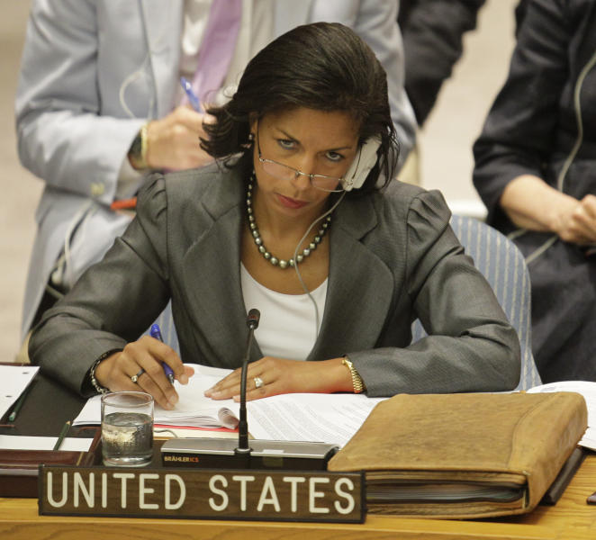 Susan Rice, the United States Ambassador to the United Nations, listens during a Security Council meeting on the situation in Syria, at the United Nations, Thursday, July 19, 2012. Russia and China have again vetoed a Western-backed U.N. resolution threatening non-military sanctions against Syria. Thursday's 11-2 vote, with two abstentions, leaves in limbo the future of the 300-strong U.N. peacekeeping force in Syria, whose mandate expires Friday. (AP Photo/Kathy Willens)
