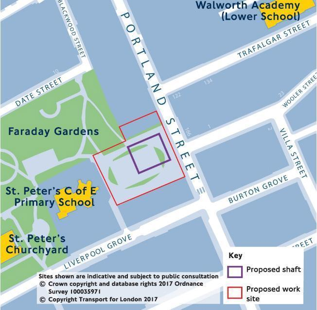 Shaft: the proposed site for the new ventilation shaft in Faraday Gardens (Transport for London)