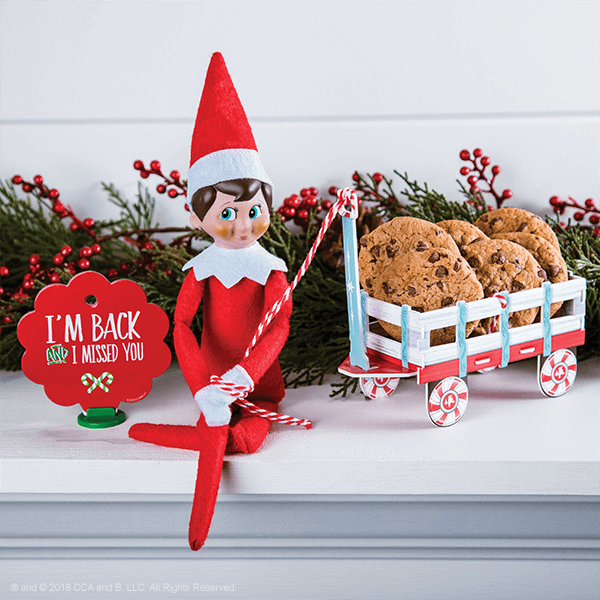 """<p>As <em>if</em> an Elf would show up empty-handed! Show your Elf this photo to politely hint that you, too, would like a hostess gif this year.</p><p><strong>Get the tutorial at <a href=""""https://elfontheshelf.com/blog/epic-elf-returns/"""" rel=""""nofollow noopener"""" target=""""_blank"""" data-ylk=""""slk:Elf on the Shelf"""" class=""""link rapid-noclick-resp"""">Elf on the Shelf</a>.</strong></p>"""