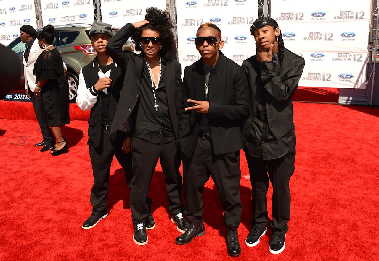 LOS ANGELES, CA - JULY 01:  (L-R) Rappers Princeton, Prodigy, Ray Ray, Roc Royal of Mindless Behavior arrives at the 2012 BET Awards at The Shrine Auditorium on July 1, 2012 in Los Angeles, California.  (Photo by Jason Merritt/Getty Images For BET)