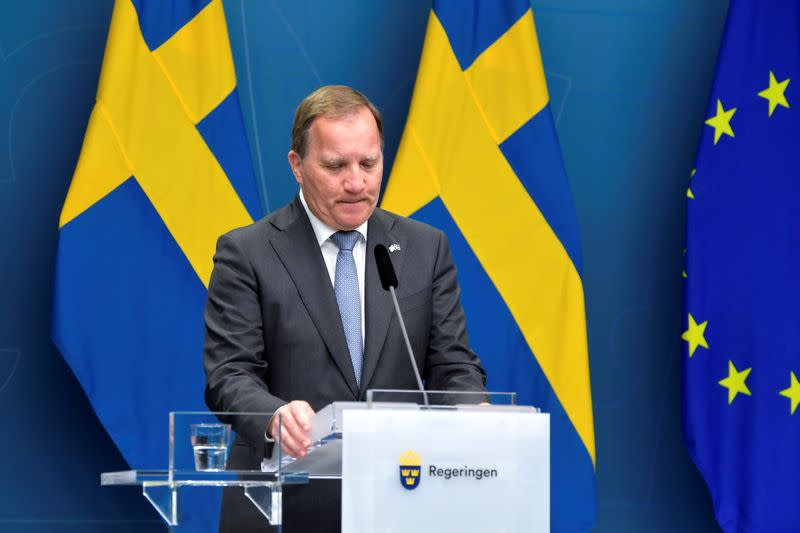 Sweden's PM Stefan Lofven attends a news conference after the no-confidence vote, in Stockholm