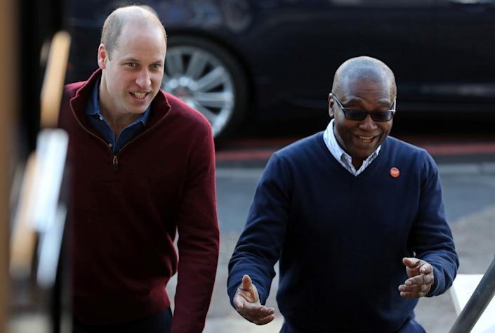 LONDON, ENGLAND - NOVEMBER 13: Prince William, Duke of Cambridge is greeted by CEO of Centrepoint, Seyi Obakin, as he arrives to visit Centrepoint's new Apprenticeship House in south London on November 13, 2019 in London, England. (Photo by Isabel Infantes - WPA Pool/Getty Images)