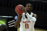 Maryland guard Darryl Morsell shoots a basket against St. Peter's during the first half of an NCAA college basketball game, Friday, Dec. 4, 2020, in College Park, Md. (AP Photo/Julio Cortez)