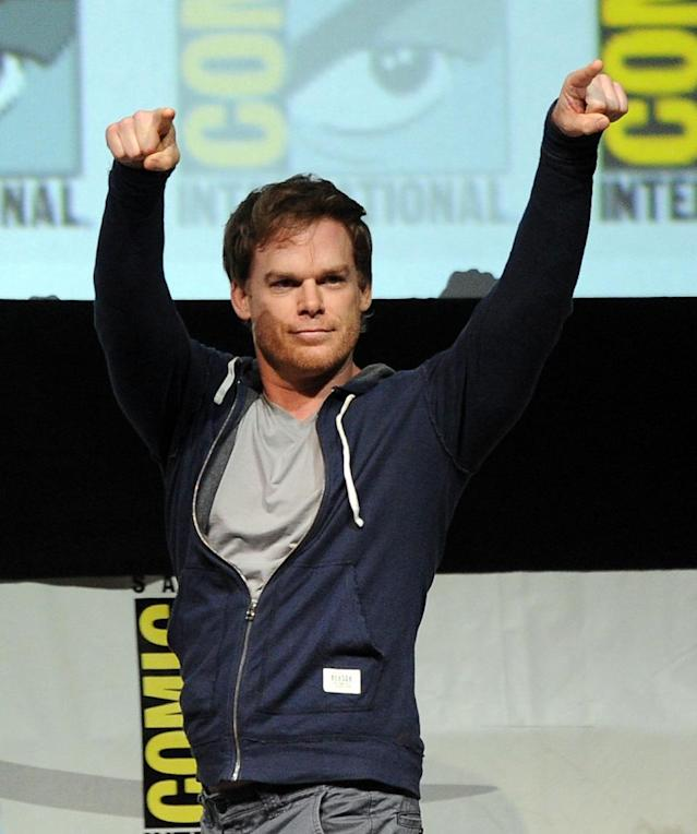 "SAN DIEGO, CA - JULY 18: Actor Michael C. Hall speaks onstage at Showtime's ""Dexter"" panel during Comic-Con International 2013 at San Diego Convention Center on July 18, 2013 in San Diego, California. (Photo by Kevin Winter/Getty Images)"