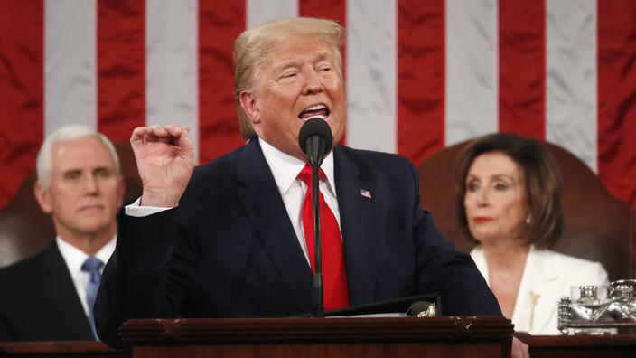 President Trump delivers his State of the Union address to a joint session of Congress in Washington on Tuesday. (Leah Millis/POOL via Reuters)