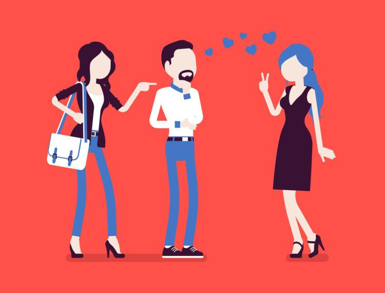 Girlfriend feeling jealous. Woman crazy about boyfriend talking to other girl, suffering from obsessive love, suspicious, mistrusting partner in relationship. Vector illustration, faceless characters