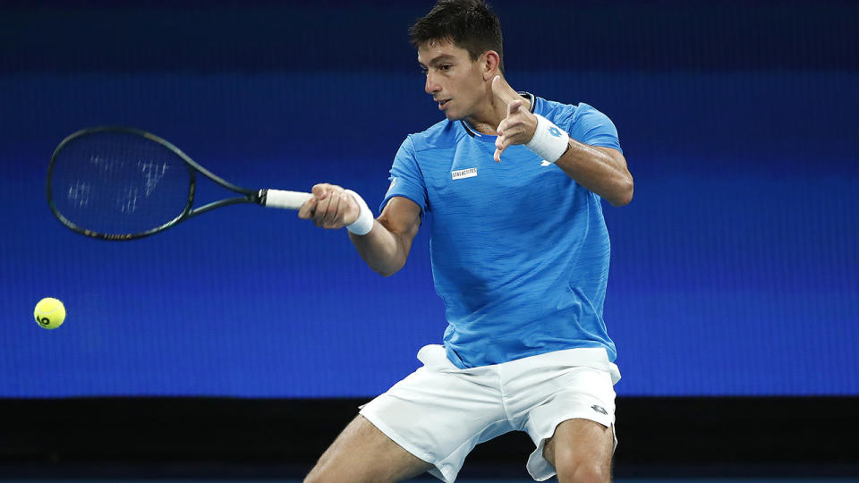 Michail Pervolarakis, pictured here in action for Greece during the ATP Cup.