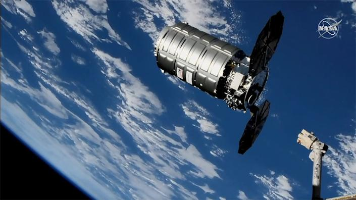 The Cygnus capsule departed the International Space Station on Feb. 8, 2019. <cite>NASA</cite>