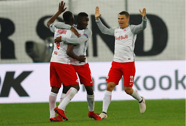 Soccer Football - Europa League Semi Final Second Leg - RB Salzburg v Olympique de Marseille - Red Bull Arena, Salzburg, Austria - May 3, 2018 RB Salzburg's Amadou Haidara celebrates scoring their first goal with team mates REUTERS/Leonhard Foeger