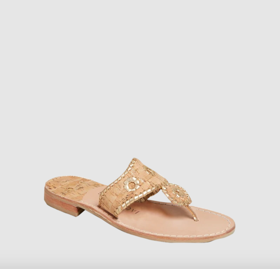 """<p><strong>Jack Rogers</strong></p><p>jackrogersusa.com</p><p><strong>$128.00</strong></p><p><a href=""""https://go.redirectingat.com?id=74968X1596630&url=https%3A%2F%2Fwww.jackrogersusa.com%2Fproducts%2Fjacks-flat-sandal-natural-cork-gold&sref=https%3A%2F%2Fwww.townandcountrymag.com%2Fstyle%2Ffashion-trends%2Fg36200206%2Fsummer-shoes%2F"""" rel=""""nofollow noopener"""" target=""""_blank"""" data-ylk=""""slk:Shop Now"""" class=""""link rapid-noclick-resp"""">Shop Now</a></p><p>Some things are classic for a reason. Case in point: these timelessly chic Jacks sandals (even <a href=""""https://www.townandcountrymag.com/society/tradition/g27126853/jackie-kennedy-onassis-pictures/"""" rel=""""nofollow noopener"""" target=""""_blank"""" data-ylk=""""slk:Jackie Kennedy"""" class=""""link rapid-noclick-resp"""">Jackie Kennedy </a>was a fan.) </p>"""