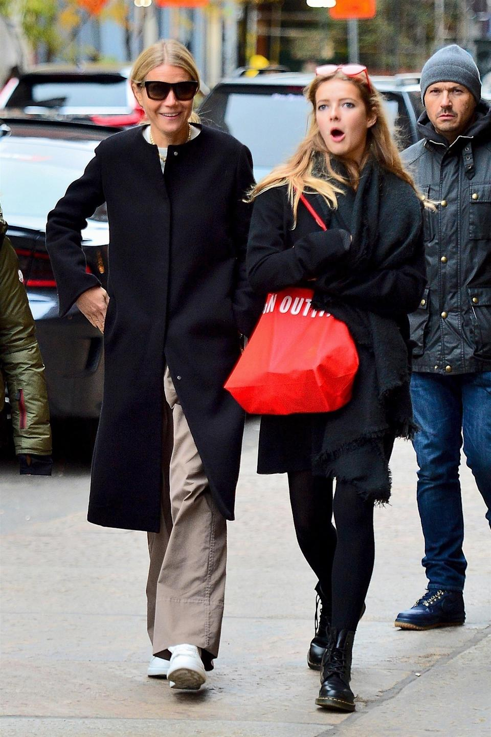 <p>Apple, 14, is the spitting image of Gwyneth and is looking more grown up than ever. The teen is even already as tall as her 5ft9 (175cm) mother. Photo: Backgrid </p>