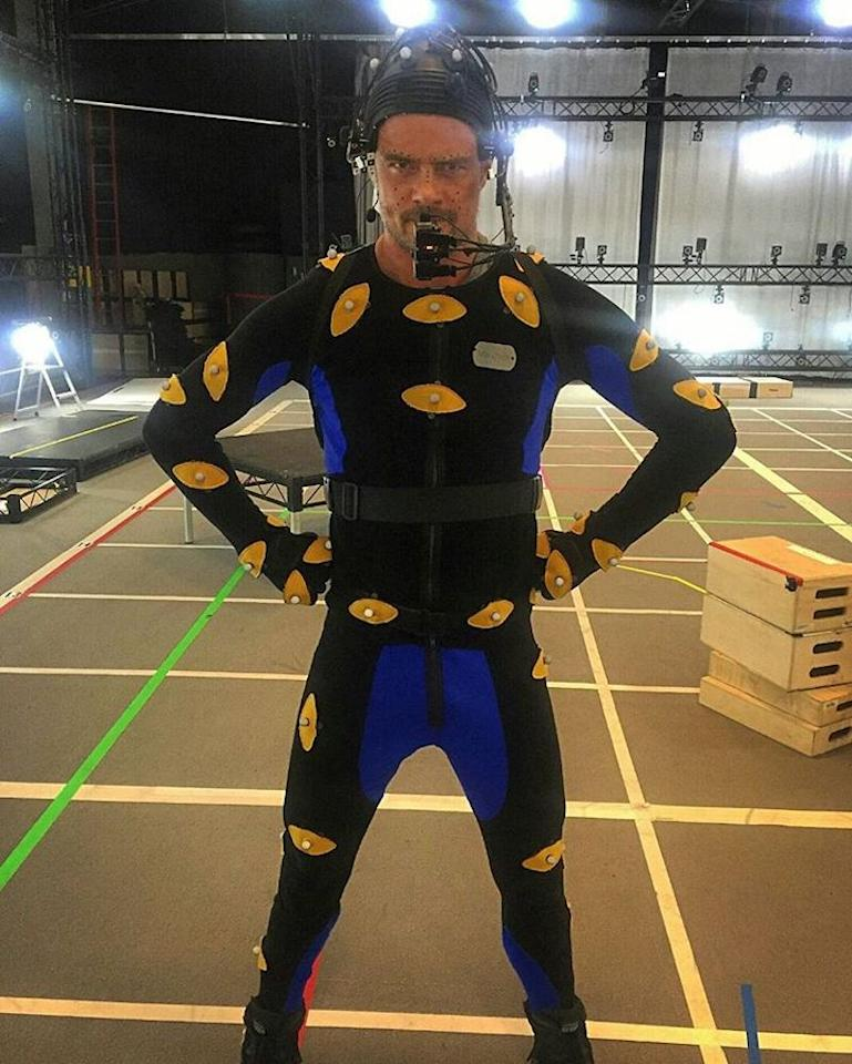 "<p>Fergie's main squeeze shared this funny pic of himself wearing a CG suit to film scenes for one of his upcoming movies. ""One of my better fashion choices,"" he joked of the groovy look. (Photo: <a rel=""nofollow"" href=""https://www.instagram.com/p/BRvgLw8FFTQ/"">Instagram</a>) </p>"