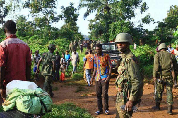 PHOTO: Congolese Soldiers patrol in an area civilians were killed by The Allied Democratic Forces rebels at Beni, Eastern Congo, Oct. 5, 2018. (Al-hadji Kudra Maliro / AP)