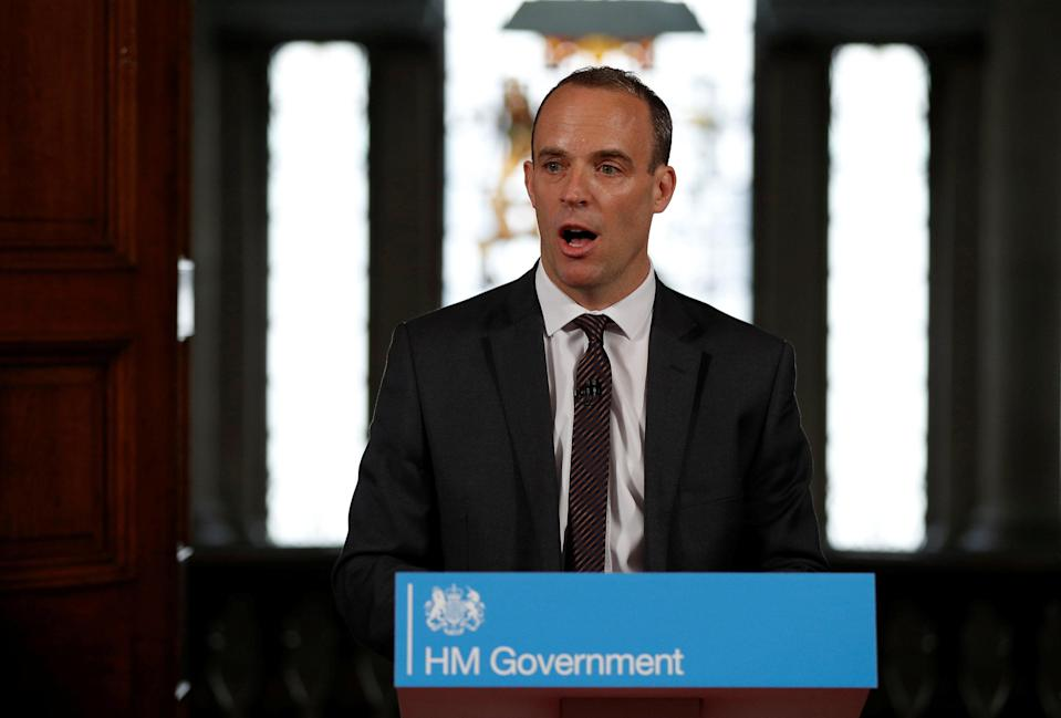 Dominic Raab speaks in London, discussing the possible outcomes of a no-deal Brexit (PA Images)