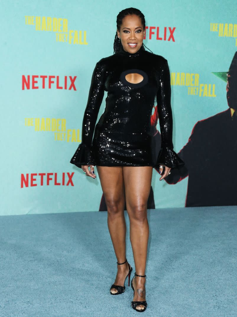 Regina King at the Los Angeles premiere of Netflix's 'The Harder They Fall' held at the Shrine Auditorium and Expo Hall on Oct. 13. - Credit: MEGA