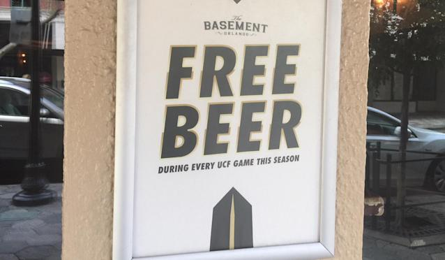 The Basement in Orlando is offering free beer during all UCF games as long as Scott Frost is the head coach. (Yahoo Sports)