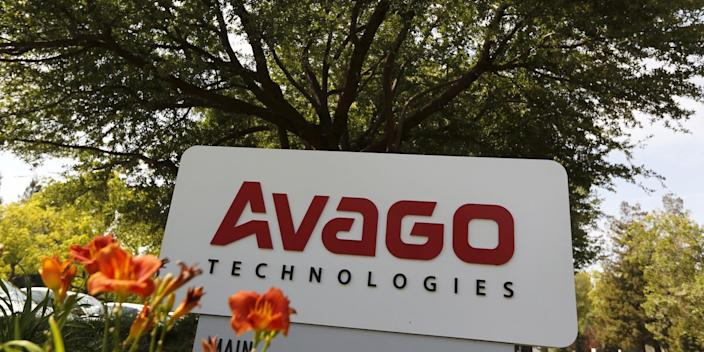 A sign at the entrance to the headquarters of Avago Technologies in San Jose, California May 29, 2015.
